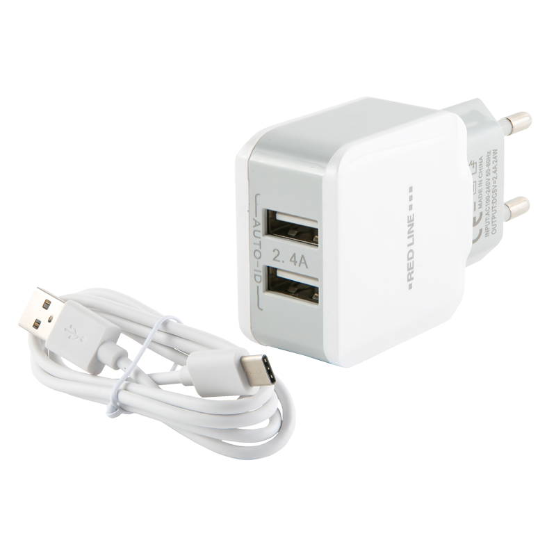 цена на Зарядное устройство Red Line 2 USB (белый)