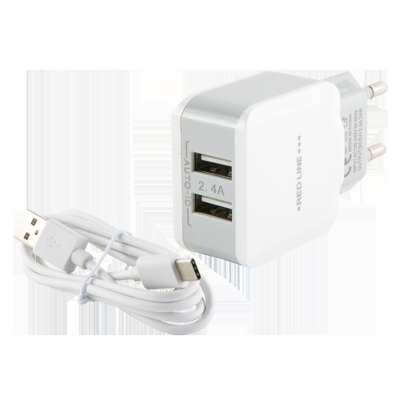 Зарядное устройство Red Line 2 USB (белый)