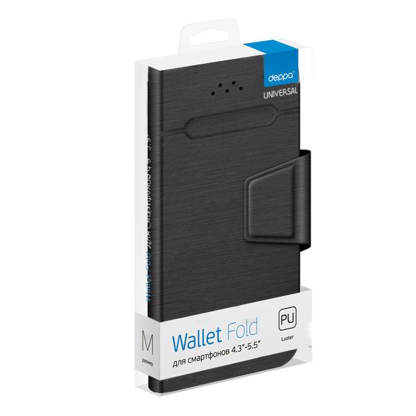 Чехол-подставка для смартфонов Wallet Fold M 4.3''-5.5'', черный, Deppa