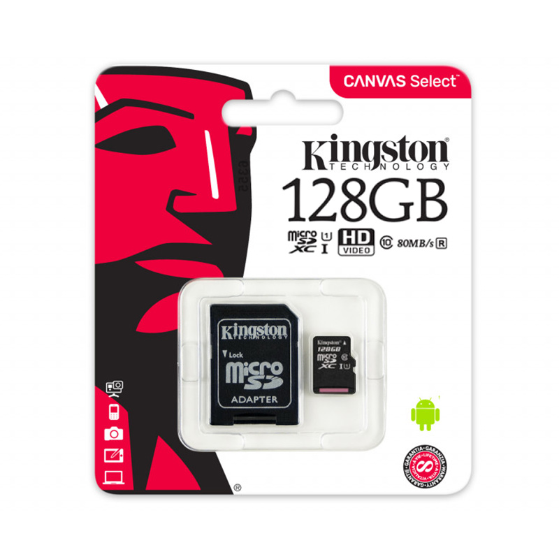 Карта памяти microSDHC Kingston Canvas Select SDCS/128GB