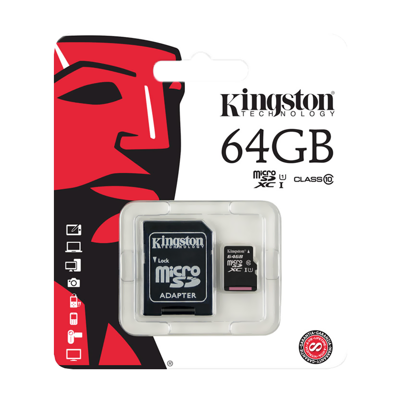 Карта памяти micro SDXC Kingston 64 Гб Class 10 U1 UHS-I черная uhappy u1 hd 3d projector