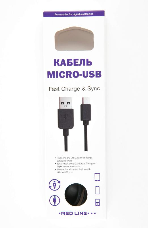 Дата-кабель Red Line USB - micro USB черный micro usb to usb data charging cable w led for samsung sony xiaomi more light brown