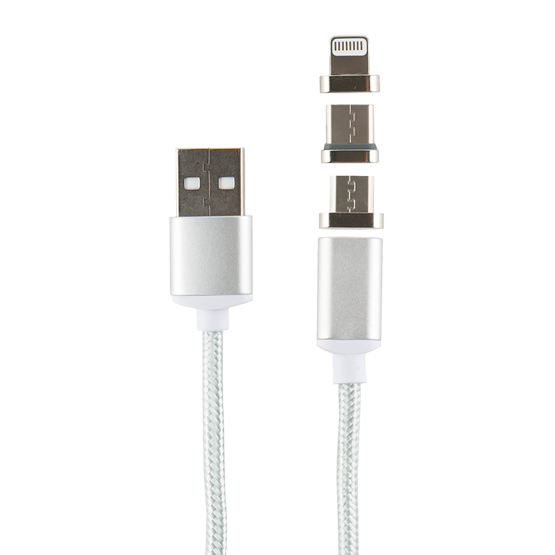 Дата-кабель Магнитный Red Line USB -Type-C/8 - pin/micro USB Silver type c to 8 pin otg type c adapter