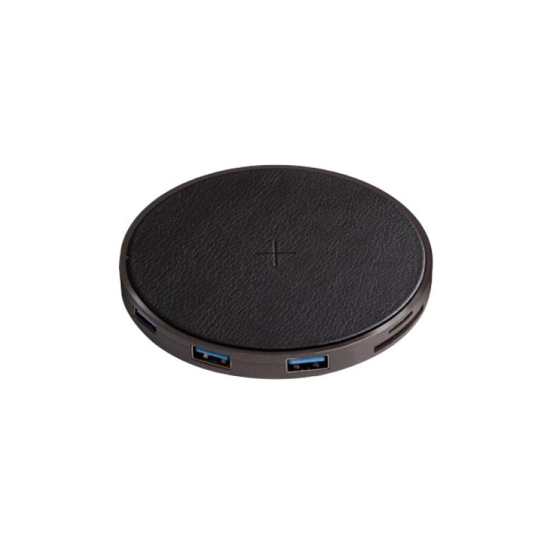 Разветвитель EnergEA WiHub USB-C с функцией беспроводной зарядки (черный) фото