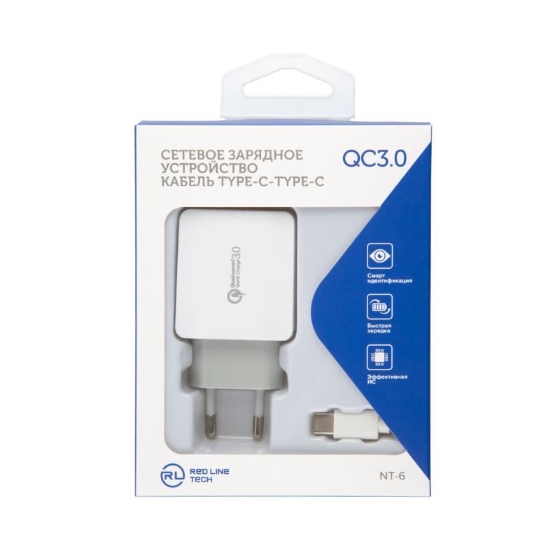 Red Line USB Type-C + кабель (модель NT-6) (белый)